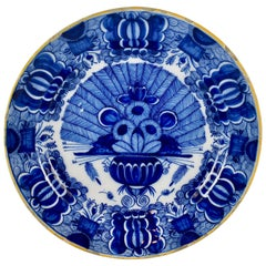 18th Century Dutch Delft Faïence De Klaauw Cobalt Blue Peacock Charger
