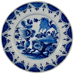 18th Century Dutch Delft Faïence Chinoiserie-Style Cobalt Blue Charger
