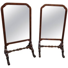 Pair of English Carved Walnut Standing Mirrors