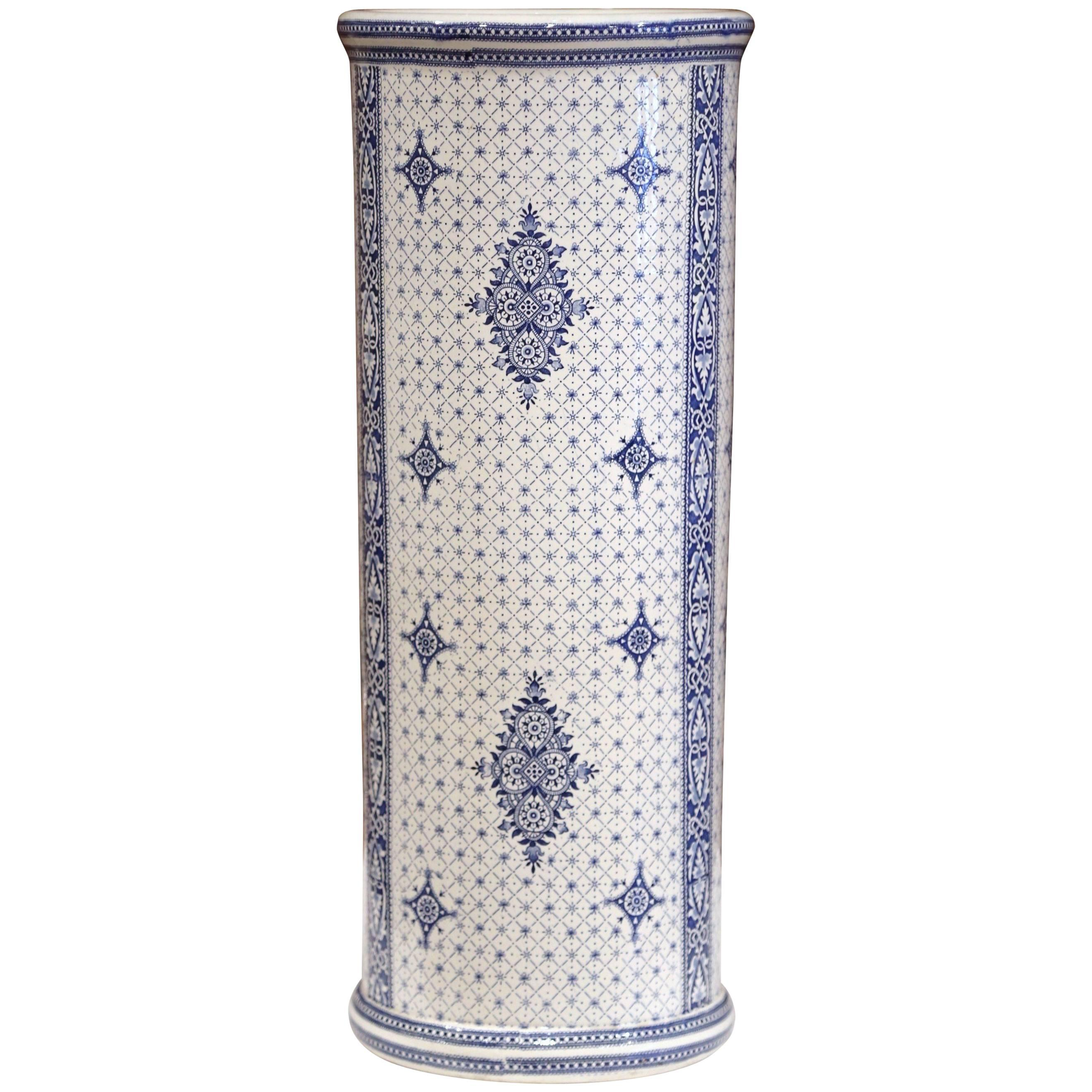 Early 20th Century Belgium Blue And White Hand Painted Umbrella Stand,  Bruges