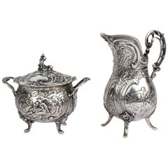 Antique Ornate German 800 Silver Creamer & Sugar Set by J. Riemann