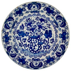 18th Century Dutch Delft Faïence Tin-Glazed Floral Cobalt Blue Charger