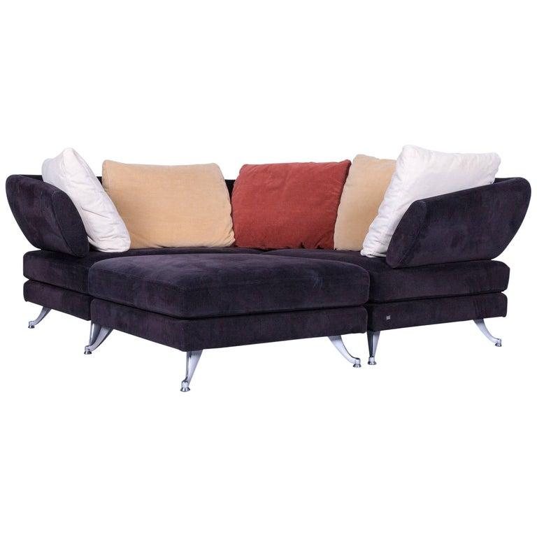 Rolf Benz 222 Designer Sofa Black Fabric Three-Seat Corner Couch