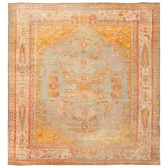 Antique Shabby Chic Angora Oushak Turkish Rug