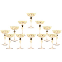 12 Handblown Venetian Salviati Hand-Painted Gold Champagne Coupes with Birds