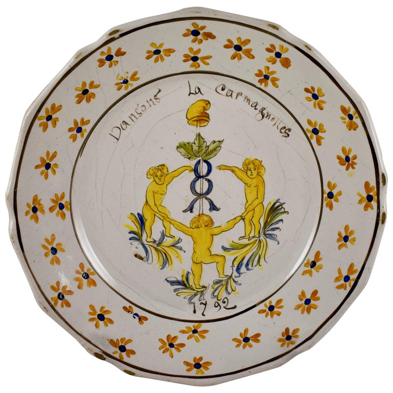 18th Century Nevers French Revolution Tin-Glazed Faïence Dish, La Carmagnolles