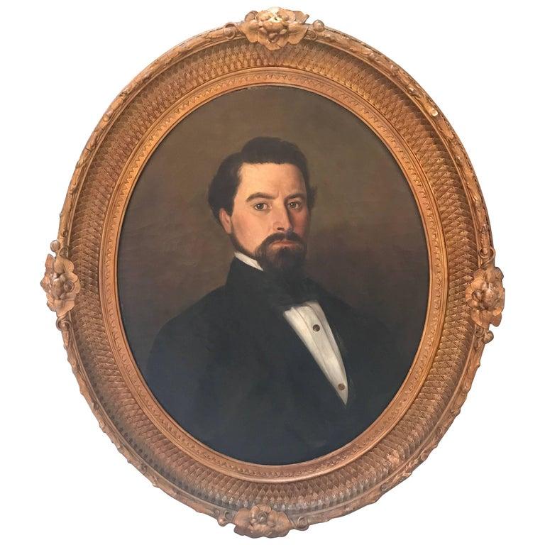 Antique 19th Century Portrait of a Handsome Gentleman, NYC, 1840