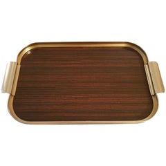 Vintage Hollywood Regency lacquered wood serving tray with brass trim