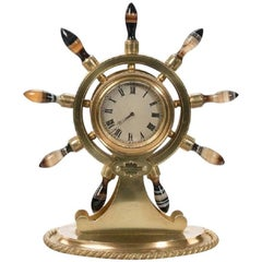 English Gilt Metal Clock in the Form of a Ship's Wheel