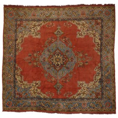 Antique Turkish Oushak Rug with Warm and Rustic Spanish Revival Style