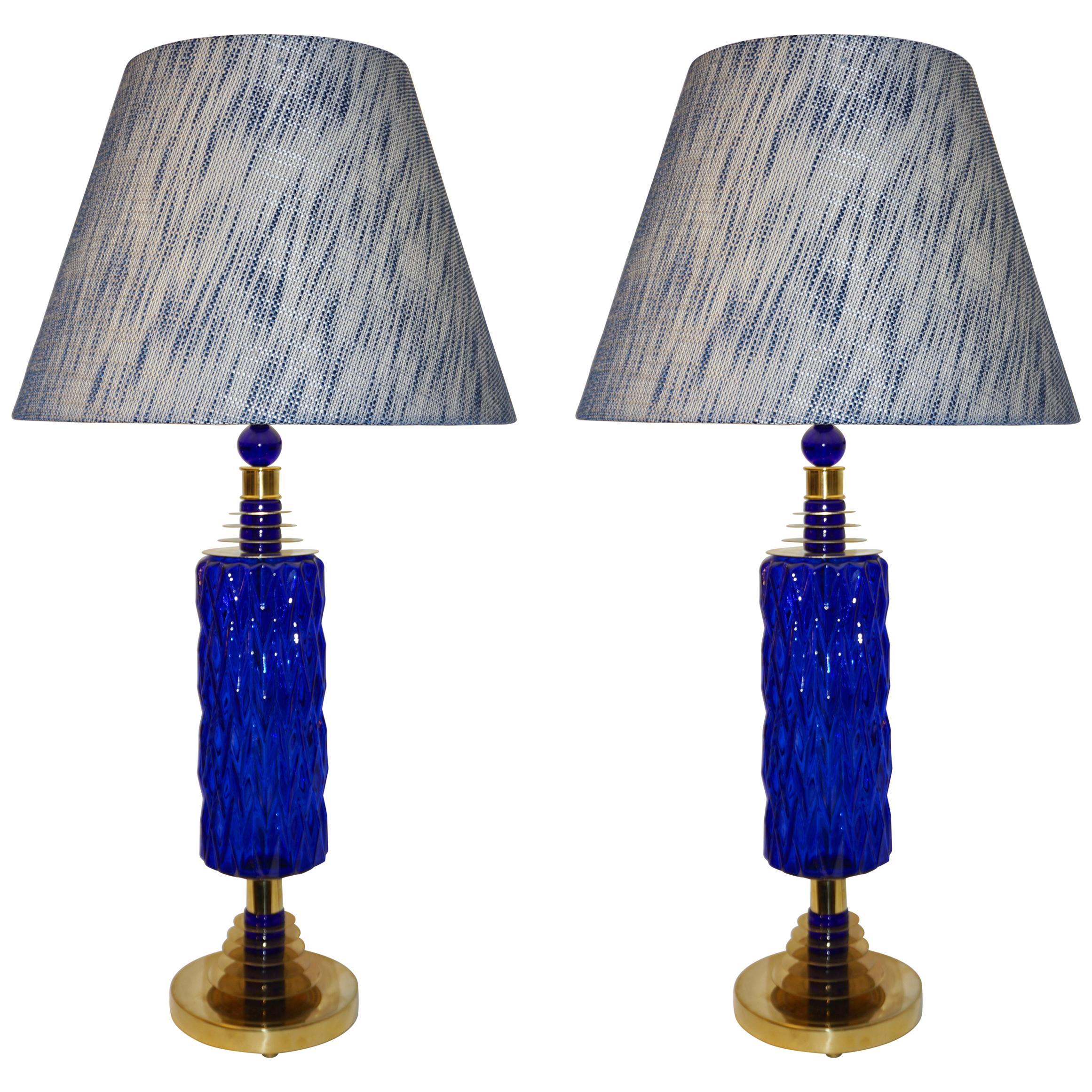 Gentil Contemporary Italian Pair Of Brass And Cobalt Blue Murano Glass Table Lamps  For Sale