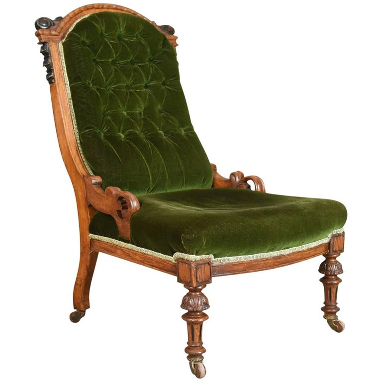Antique Chair, Scottish, Oak, Button Back, Nursing, Salon, Victorian, circa 1850