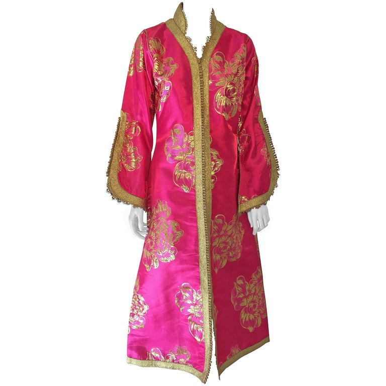 Vintage Designer Moroccan Kaftan, Embroidered Brocade Caftan with Pink and Gold