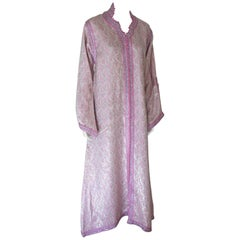 Moroccan Brocade Kaftan Embroidered with Pink and Silver Trim