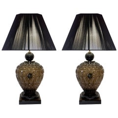 Vivarini 1970s Italian One-of-a-Kind Pair of Black and Smoked Murano Glass Lamps