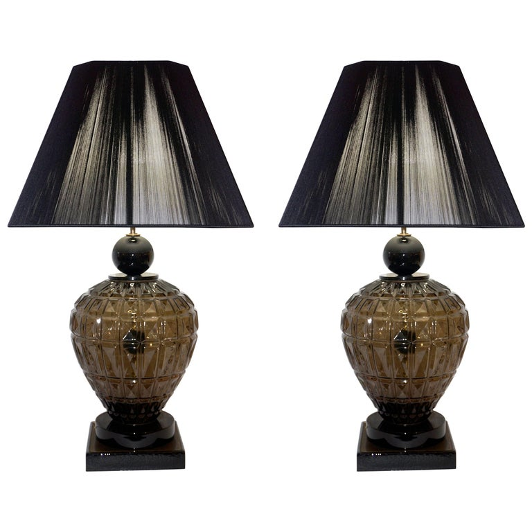 Vivarini 1970s Italian One-of-a-Kind Pair of Black and Smoked Murano Glass Lamps For Sale