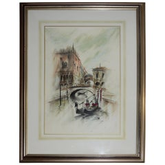 Midcentury Framed Venetian Watercolor Artist Signed