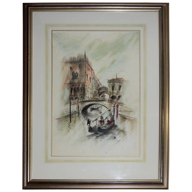 Midcentury Framed Venetian Watercolor Artist Signed