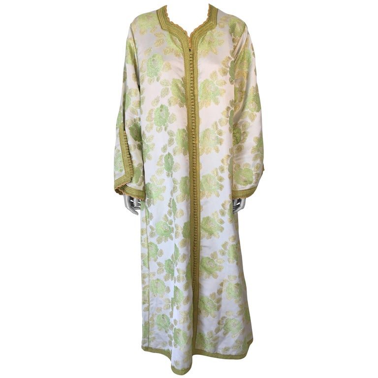 Vintage Exotic Moroccan Caftan, 1970s Metallic Green Brocade Kaftan Maxi Dress