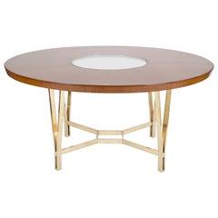 Large Sapele Center Table on Polished Bronze Base