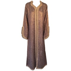 Moroccan Caftan 1970s, North Africa, Morocco Metallic Bronze and Gold Color