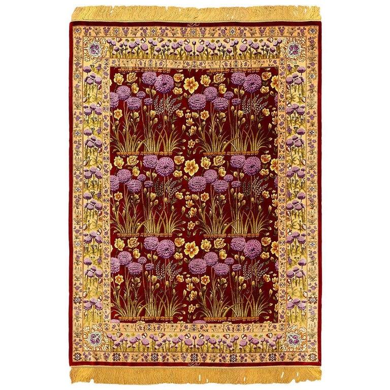 Small Floral Vintage Persian Luxury Silk Tabriz Rug
