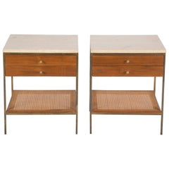 Pair of Paul McCobb Travertine Top Side Tables with Caned Shelves