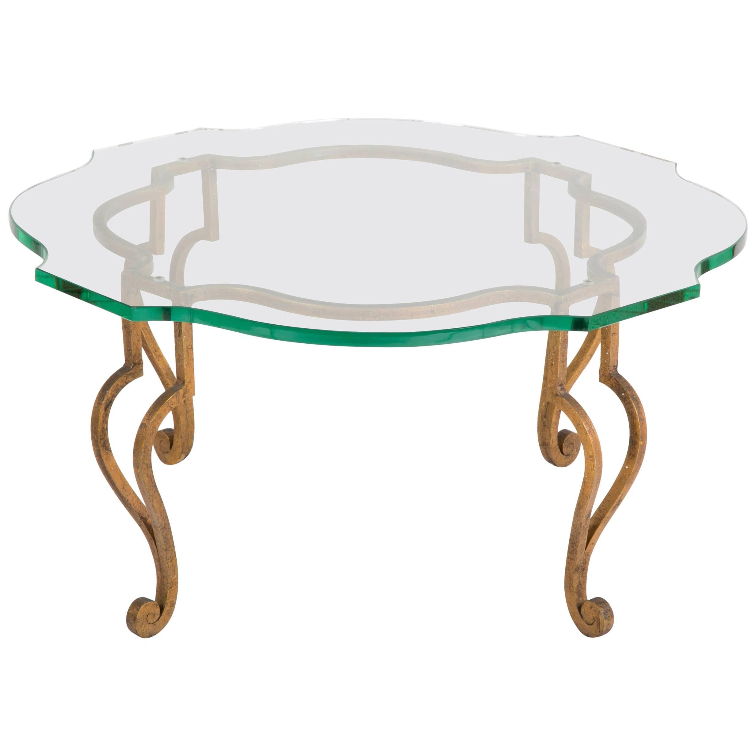 Maison Ramsey Gilt Iron and Articulated Glass Coffee Table