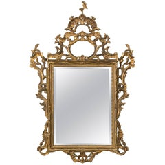 1930s Carved Gilt Wood Italian Mirror