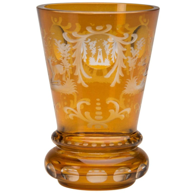 Vintage English Bohemian Cut Glass Amber Vase, circa 1950