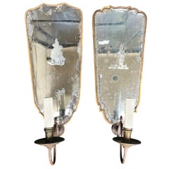 Assembled Pair of 19th Century Neoclassical Mirrored Sconces Lead Edges