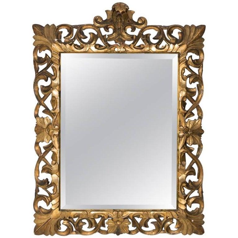 1930s Italian Carved Wood Gilt Rococo Mirror