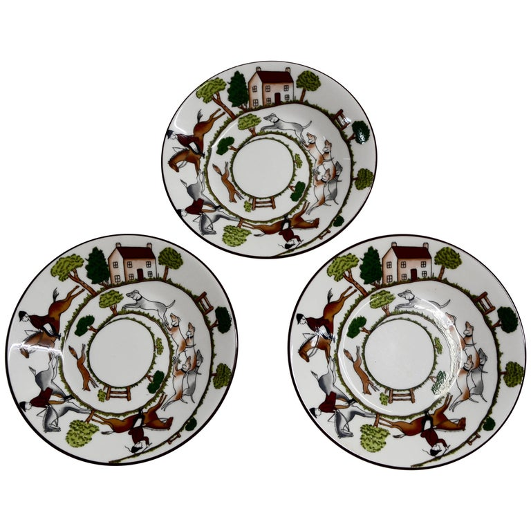 Wedgewood Coalport Hunting Scene Set of Three Bread and Butter Bone ...
