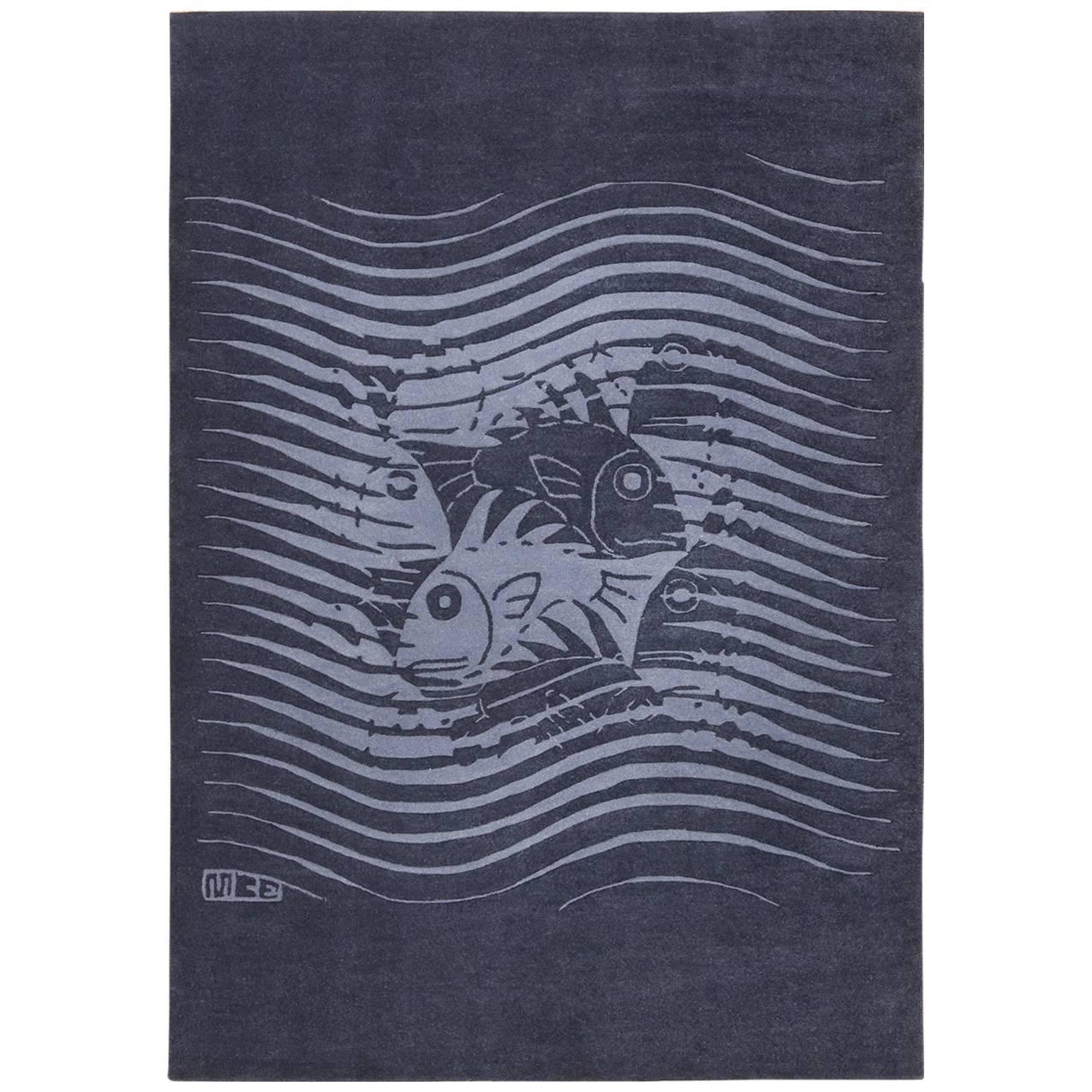"""Blue Artistic Vintage Scandinavian Maurits Escher Fish Rug. Size: 5' 7"""" x 8'"""