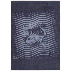 Blue Artistic Vintage Scandinavian Maurits Escher Fish Rug