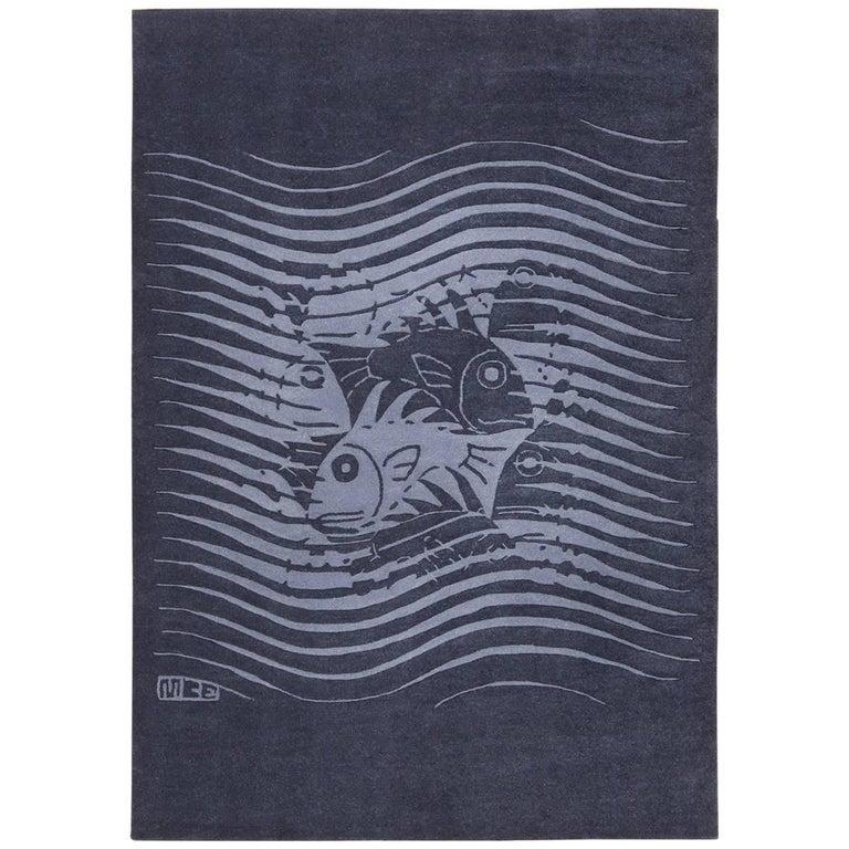 "Blue Artistic Vintage Scandinavian Maurits Escher Fish Rug. Size: 5' 7"" x 8'  For Sale"