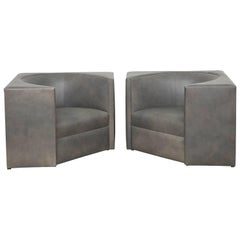 Pair of 1970s Cubic Leather Chairs