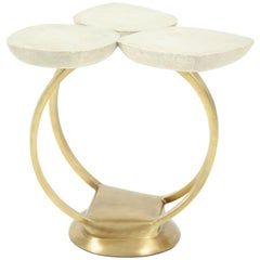 Shagreen Side Table With Bronze Base
