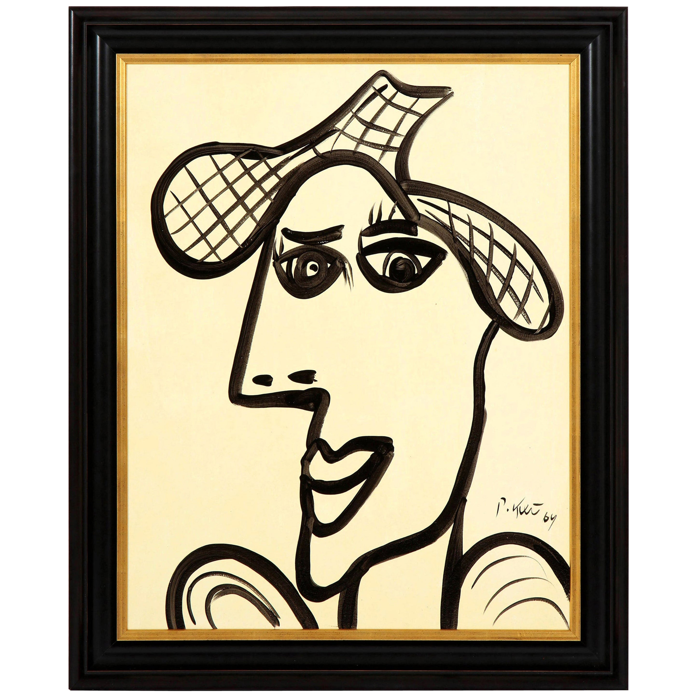 Painting by Peter Keil, Mid-Century Modern, Black and White, Modern Art