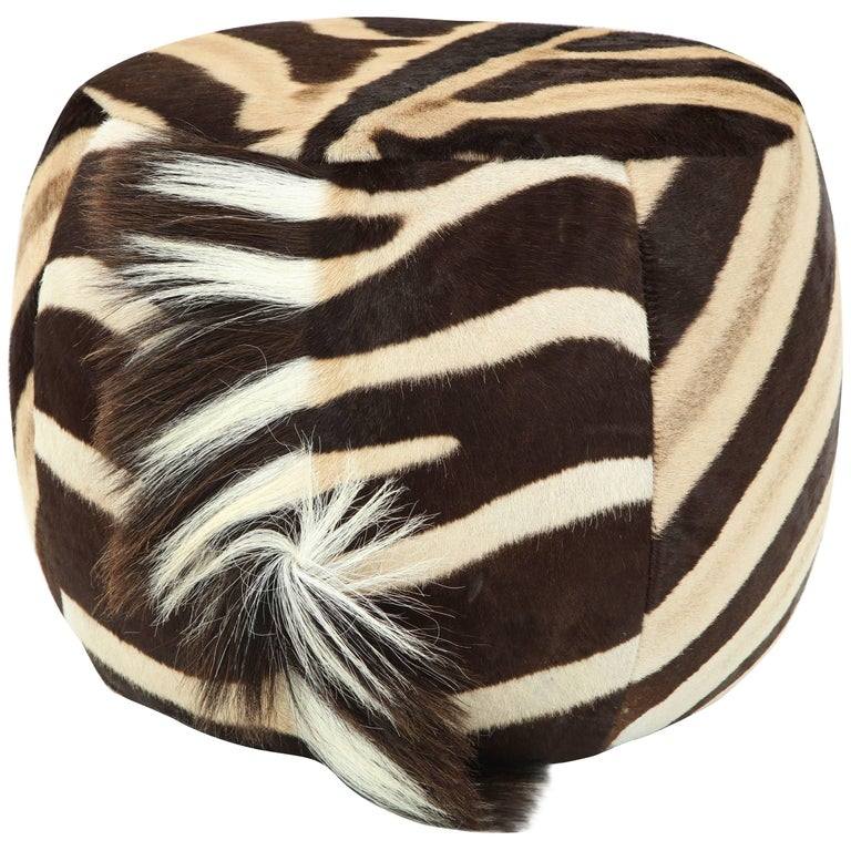 Vintage Zebra Ottoman For Sale