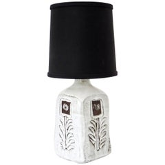 French Incised and Glazed Ceramic Table Lamp by Ceramic Artist Albert Thiry