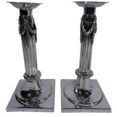 Pair of German Biedermeier Silver Classical Column Candlesticks