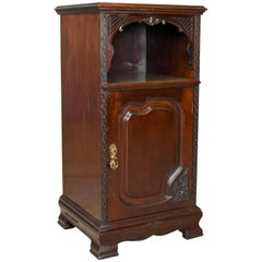 Antique, Bedside, Cabinet, Carved Mahogany, Nightstand, English, circa 1910