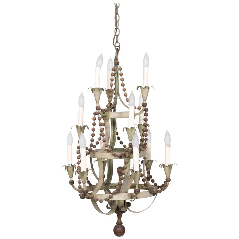 1960s Wood Beaded Chandelier