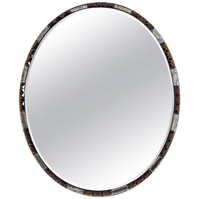 Midcentury Style Oval Mirror with Chamfered Edge