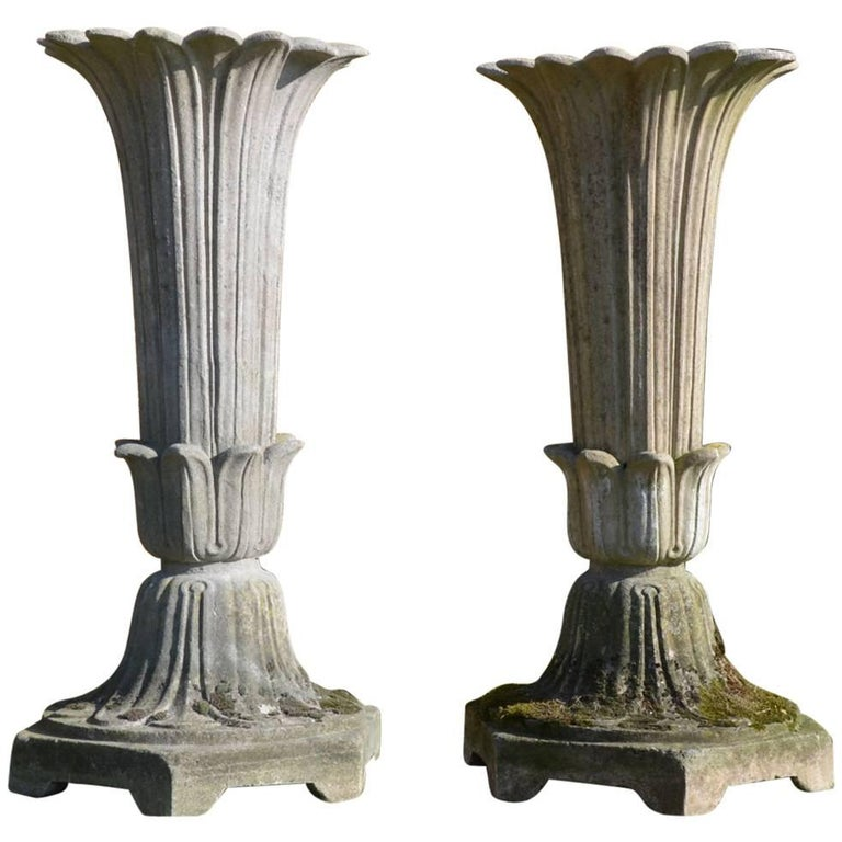 Pair of Mid-19th Century Composition Stone Garden Vases by Austin and Seeley