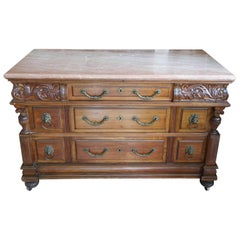 Superb 19th Century English  Revival Marble-Top Chest of Drawers in Walnut