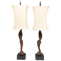 Superb Pair of 1960s Vintage Heifetz Opposing Male/Female Statuettes Lamps
