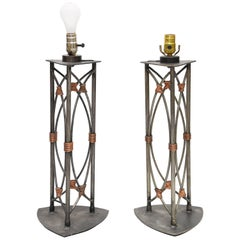 Unique Pair of Iron and Copper Accent Table Lamp by Georges Kovacs