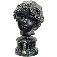 Patinated Bronze Head of a Youth
